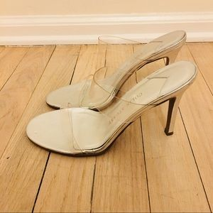 Colin Stuart | Silver PVC Strap Heeled Sandals